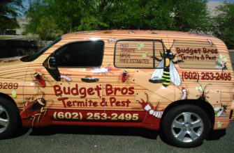 budget brothers termite truck driven by a termite inspector on the job